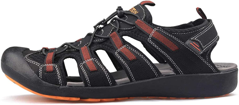 FINDYOU 2019 Sandals Men Outdoor Summer shoes Beach Flat Heel Comfortable Breathable Sandals,Grey Yellow,44