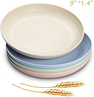 """JUCOXO Lightweight Unbreakable Wheat Straw Plates - 9'' x 1.4"""" Deep Dinner Plate Sets - BPA Free Dinner DIshes - Dishwasher Microwave Safe Dessert Plates"""