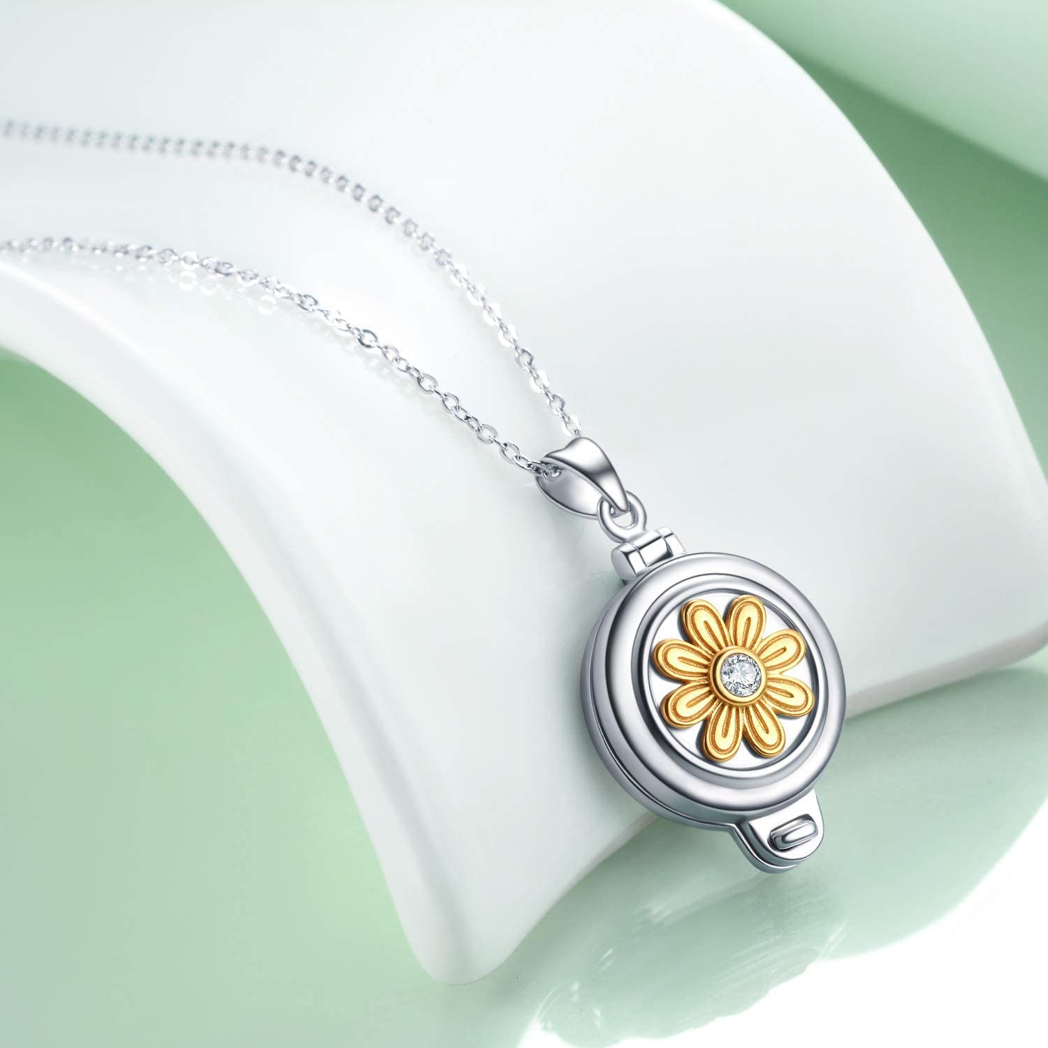 AOBOCO Personalized Locket Necklace That Holds Pictures Sterling Silver Sunflower Daisy Custom Locket Pendant Necklace Two-Tone with Clear Crystal