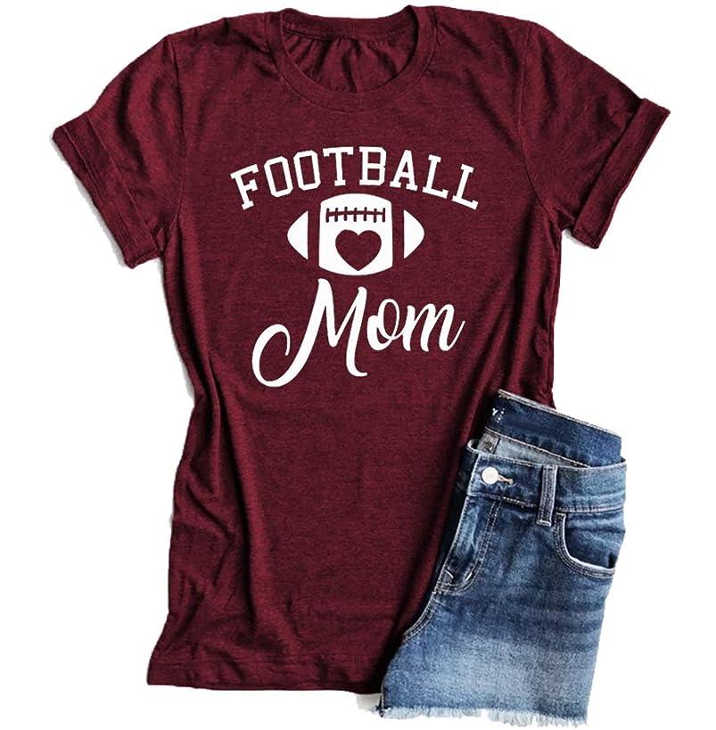 Football Mom Heart T-Shirt Women Funny Short Sleeve Shirts O-Neck Blouse Tops