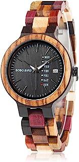 BOBO BIRD Women Wood Watches Colorful Wood WristWatches Week & Date Display Multifunction Handmade Quartz Watch Sport Chro...