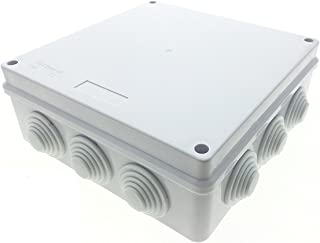 Waterproof Junction Box w Holes,200x200x80mm IP65 Electric Cover ABS Plastic Squre Project Case Power Outdoor Enclosure (7.9'' x 7.9'' x 3.1'')