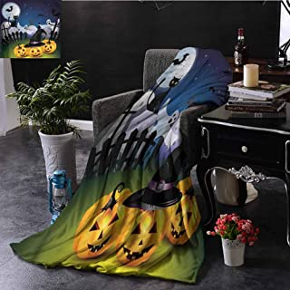 sashimii Bed Blanket, Couch Decorative Lightweight,Warm Cozy Large Plush Blankets for Bed Couch Chair, Halloween | Pumpkins Witches Hat Moon - 50