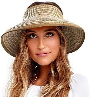 Sun Visor Hats for Women Wide Brim Straw Roll Up Ponytail Summer Beach Hat UV UPF 50 Packable Foldable Travel FURTALK