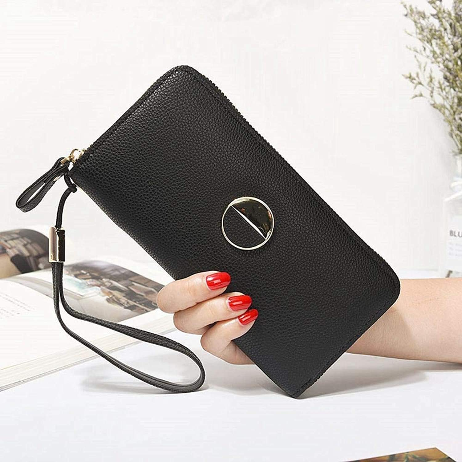 Girls Purse Women's Wallet,Women's Large Wallet Zipper Wallet Bill Clamp Multifunctional Hand Bag PU Leather (color   E)