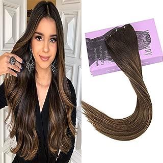 VeSunny Brown Clip in Hair Extensions Human Hair Balayage Color Dark Brown Fading to Medium Brown Highlights Brazilian Clip ins Hair Extensions Human Hair 12
