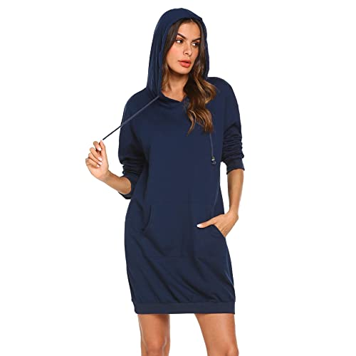 ab6260704fd IN'VOLAND Women's Long Sleeve Hooded Loose Casual Pullover Hoodie Dress  Tunic Sweatshirt Dress with