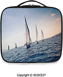 SCOCICI Printed Portable Storage Bag Racing Sailboats in Mediterranean Sea Adventure Winner Sports Freedom Photo with Adjustable Compartments and Brush Slots