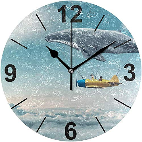 Tabue Wandklok stil 9,5 inch klok met batterijen zonder te tikken neem de klok in de hemel, ronde horloges van acryl, stil