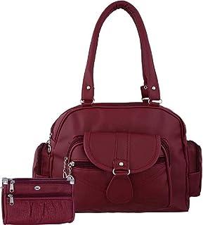 Bellina D pocket maroon Shoulder handbag and wallet for women