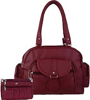 Bellina Women's D pocket maroon synthetic Shoulder handbag and wallet