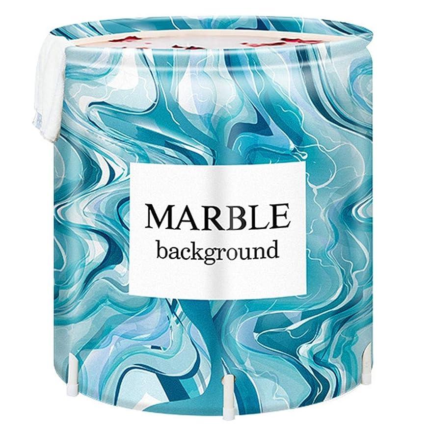 マーブル型プラスチック折り畳み式バスタブは子供、大人、厚めのPVC生地、青色の曲線油絵の絵柄で、旅行の携帯に適していて、小さい空間の浴室に適しています (Size : A)