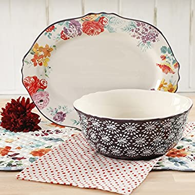The Pioneer Woman Garden Meadows 2-Piece Plum Floral Serving Platter and Bowl Set