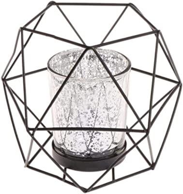 Hohl Eisen Draht 3D Geometrische Hexagon Teelicht Kerzenhalter Weddding