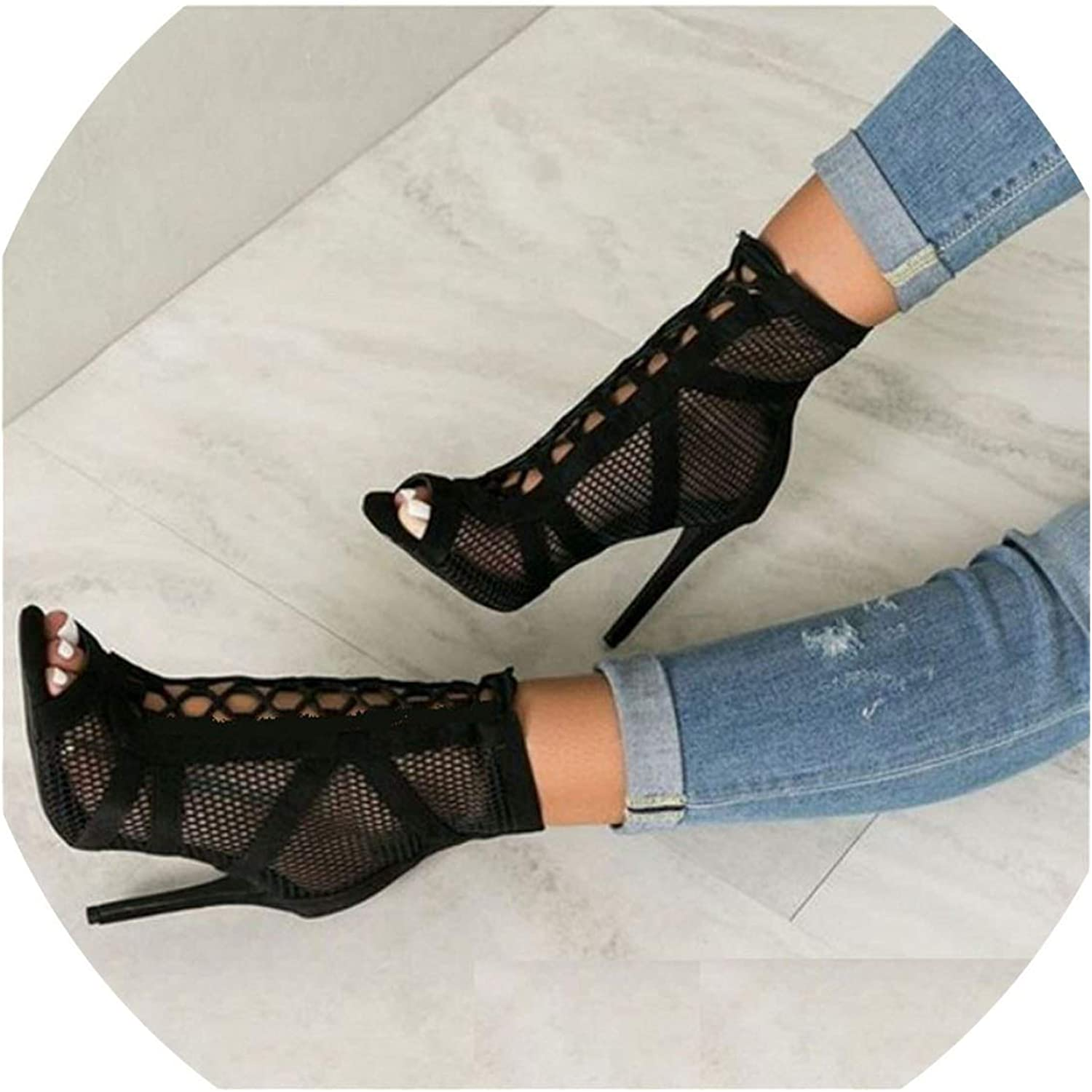 Fortune-god Black Net Suede Fabric Cross Strap Sexy High Heel shoes Pumps Lace-Up Peep Toe Sandals