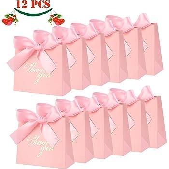 JoGoi 12pcs Cajas para Bombones Cajitas para Regalos de Carton Cajas para Cumpleaños Fiesta Regalo Dulces Cajita Paper Caramelos Navidad Boda Bautizo Graduación con Decoración Rosa: Amazon.es: Hogar