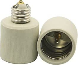 2 Packs Ali Tronics E26 to E39 Adapter (Medium Base E26 to Mogul Base E39), Ceramic Material-high Voltage and High Temperature Resistant,E26 Socket