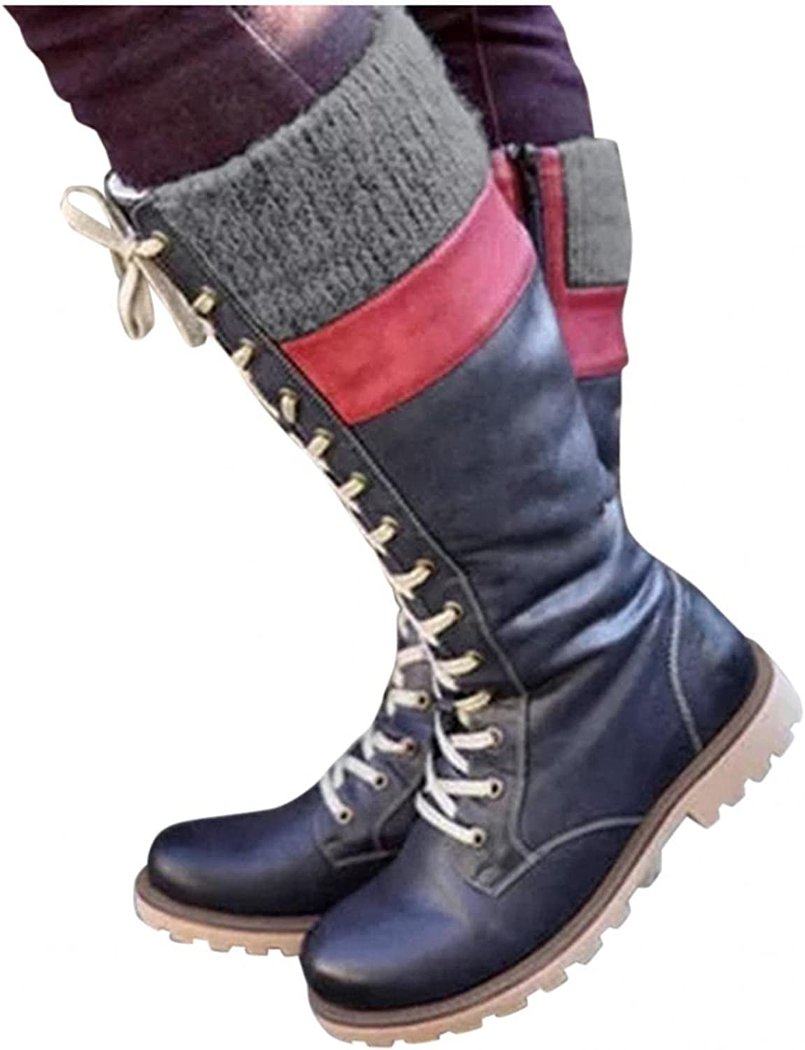 Xudanell Booties for Women Knee High Outdoor Snow Boots Platform Winter Warm Hiking Boots Leather Lace Up Womens Boots