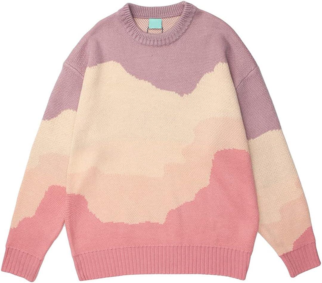 GHURFNP Color Block Pullover Men Women Sweater Autumn Winter Knitwear Sweater