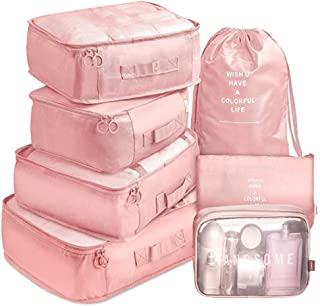 7 Pack Packing Cubes Value Set for Travel Luggage Organiser Bag Compression Pouches Clothes Suitcase Packing Organizers Set with Toiletry Bag (Pink)