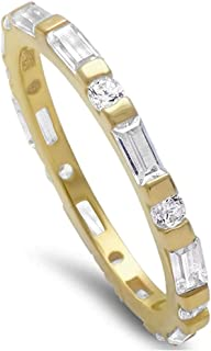 2mm Full Eternity Wedding Band Ring Baguette and Round CZ Yellow Tone Plated 925 Sterling Silver