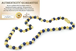 14 inch ADHD Raw Unpolished Baltic Amber Teething Necklace Pre Teen Natural Certificated Round Baltic Jewelry Twist-in Screw Clasp Helps some with stress, anxiety, ADHD, (Raw Milk Lapis Lazuli)