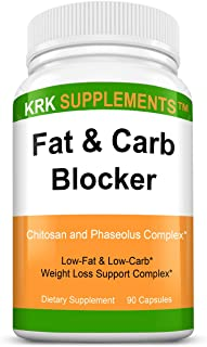 1 Pack Fat and Carb Blocker with Phaseolus Vulgaris (White Kidney Bean Extract) Chitosan Extreme Diet Pills Weight Loss 90...