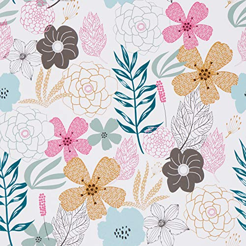Mecpar Floral Wallpaper 17.71'' x 78.7'' Perennial Blooms Wallpaper Floral Peel and Stick Wallpaper Vinyl Self Adhesive Removable Waterproof Wallpaper for Bathroom Cabinet Prepasted Decorative