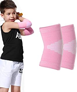 Kids Knit Elbow Brace Support - Luwint Compression Arm Protection Sleeves for Volleyball Weightlifting Tennis Tendonitis, 1 Pair (Pink)