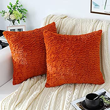 sykting Burnt Orange Throw Pillow Covers 20x20 Ultra Soft Fuzzy Faux Fur Pillow Covers Decorative for Couch Sofa Bed Living Room Pack of 2