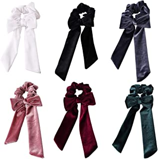 URSKYTOUS 6Pcs Velvet Hair Scrunchies with Bow Elastic Bowknot Hair Bands Ponytails Holder Hair Ties Rope Accessories for Women Girls Gift