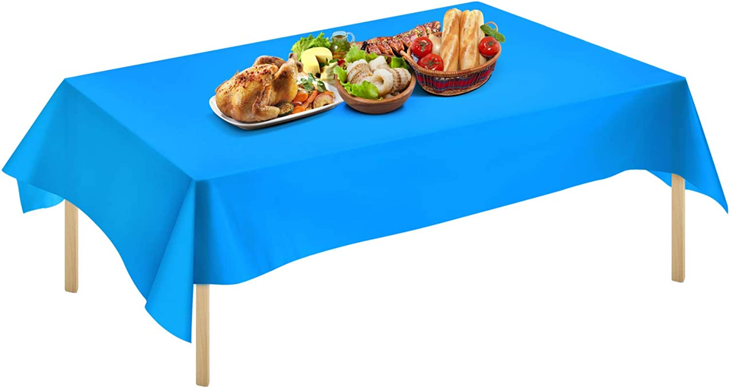 Syntus 3 Pack 54 Inch X 108 Inch Premium Plastic Tablecloth Disposable Rectangle Table Cover Waterproof Heavy Duty Reusable Blue