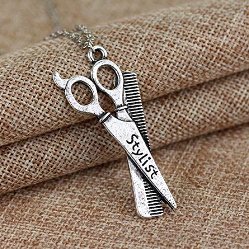 TTDAltd Halskette Werkzeug Haartrockner Schere Kamm Anhänger Halskette Friseur Friseur Schminktisch Halskette