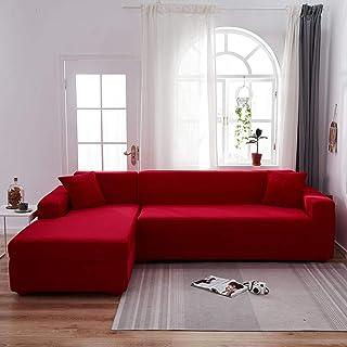 Fsogasilttlv Housse De Canapé Fauteuil Rouge 1 3 Places, Housse de canapé Tout Compris de Couleur Unie, Housse de canapé E...
