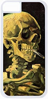 Vincent Van Gogh Skull of A Skeleton With A Burning Cigarette- Case for the Apple Iphone 5C-Hard White Plastic Outer Shell with Inner Soft Black Rubber Lining
