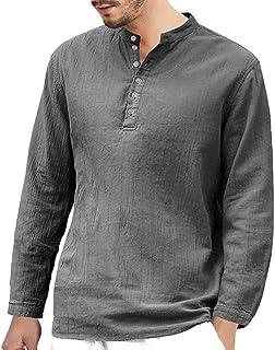 Camiseta para Hombre MISSWongg Botón Holgado de Lino Media Manga Tops Retro Cuello V T-Shirt Color SóLido Hombre Verano Ot...