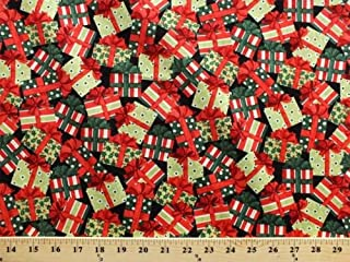 Cotton Gifts Holly Leaves Berries Holidays Festive Santa Packages Red and Green Cotton Fabric Print by The Yard (11349-green)