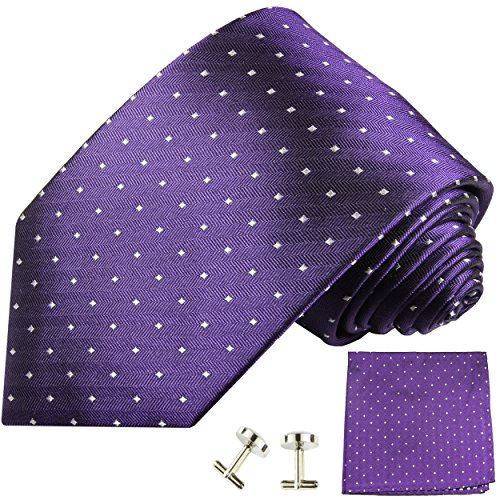 Cravate violet blanc á pois ensemble de cravate 3 Pièces (100% Soie Cravate + Mouchoir + Boutons de manchette)