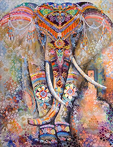 Diamond Painting Kits for Adults, DIY 5D Full Drill Round Rhinestone, Diamond Painting Pictures Arts Craft for Home Wall Decor (12x16inch Elephant Diamond Painting)
