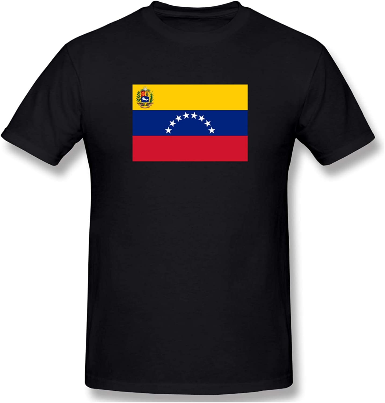 Venezuela Flag Men's T-Shirts Short-Sleeve Crew Neck Shirts Classic Henley Shirts Casual Shirt
