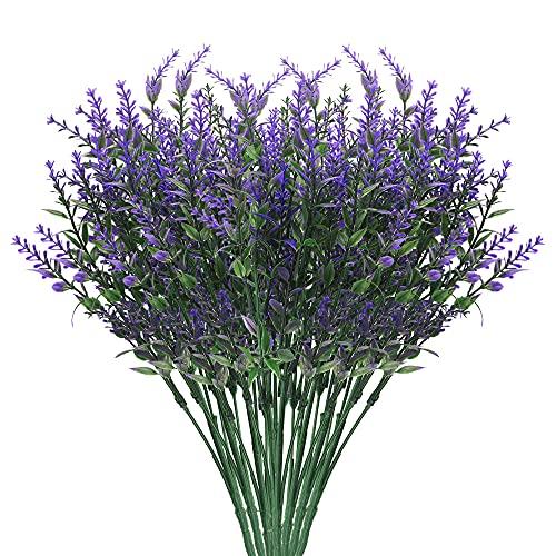 Künstliche Lavendel Blumen Bouquet, 8stk Kunststoff Lila Künstliche Blumen Deko, für für Garten, Hochzeit DIY, Büro, Wohnkultur