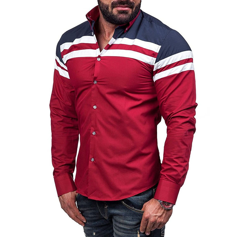 Yochyan_Men メンズ シャツ ブラウス トップス ロングスリーブ 長袖 スリム カラーマッチング ボタン プリント Tシャツ 快適 日常用 上着 カジュアル シンプル ファッション おしゃれ ティーシャツ プレゼント