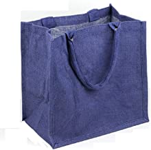Natural Burlap Totes Reusable Jute Bags Gusseted for Beach, Shopping (Pack of 6) (Navy)