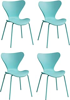 Meubletmoi - Juego de 4 sillas apilables de color verde y azul turquesa con patas de acero verde y azul – Diseño contemporáneo escandinavo – Pop