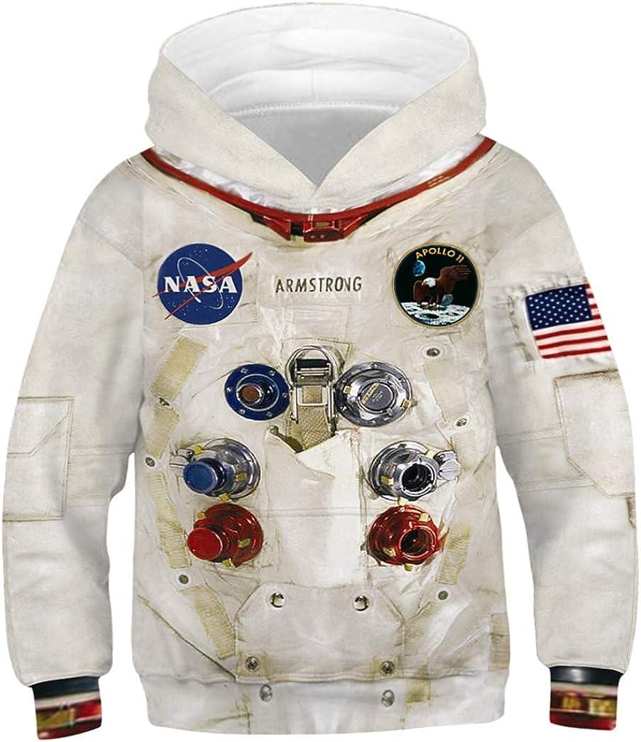 JooMeryer Boys' Realistic 3D Print NASA Astronaut Hoodie Hooded Sweatshirts
