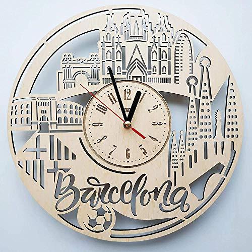 WZCXYX Reloj de Pared Skyline Barcelona Hecho de Madera bellamente Cortado - Decora tu hogar con Arte Moderno Tamaño 12 pulgadas01