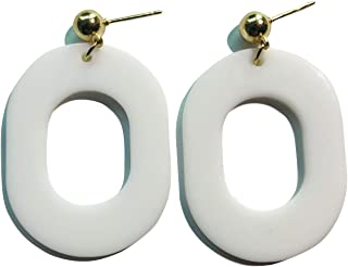 white mod earrings