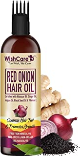 WishCare® Red Onion Hair Oil for Hair Growth & Hair Fall Control - With Deep Root Comb Applicator- 200 ml - Enriched with ...