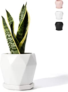 POTEY 050901 Ceramic Plant Pot White - 4.9 Inch Diamond Geometric Planter for Indoor Plants Flower Succulent with Drainage Hole & Saucer(Plant NOT Included)