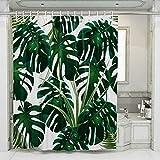 JOTOM Grüne Tropical Palm Blätter Duschvorhang, Digitaldruck Badewannenvorhang Schimmelresistenter Waschbar Wasserdicht Shower Curtain mit 12 Ringen 180x180cm (Grünes Blatt C)